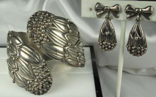 HILARIO LOPEZ Sterling Set MARGOT de TAXCO Cornflower Design *LG WRIST Bracelet