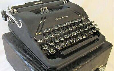 Antique SMITH CORONA Sterling FLOATING SHIFT TYPEWRITTER w Black Case Glass Keys