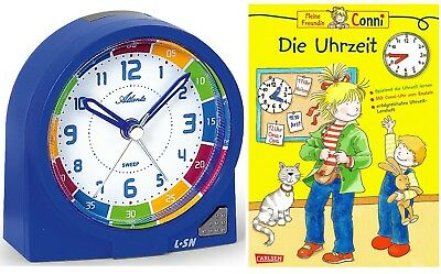 Kinderwecker ohne Ticken + Lernbuch Connie Uhrzeit lernen Blau Jungen -1937-5