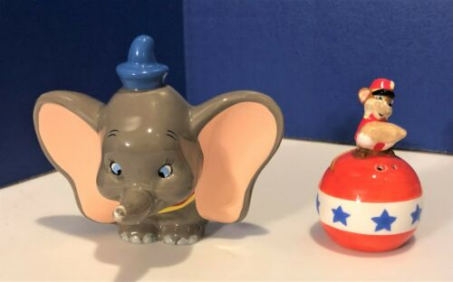 NWT Circus DUMBO Elephant & Friend TIMOTHY Mouse Salt & Pepper Shakers