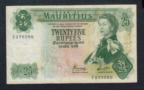 MAURITIUS  25 RUPEES ( 1967 )  PICK # 32b  FINE+.