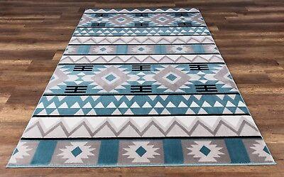 Navajo Premium Quality Southwestern Native American Style Area Rug Blue Gray