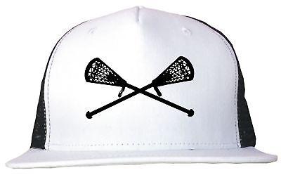 (Crossed Lacrosse Sticks Trucker Hat Cap Adjustable)
