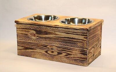 Double Large Elevated Dog Dish  Large 2 Bowl Feeding Stand  Elevated Pet Stand
