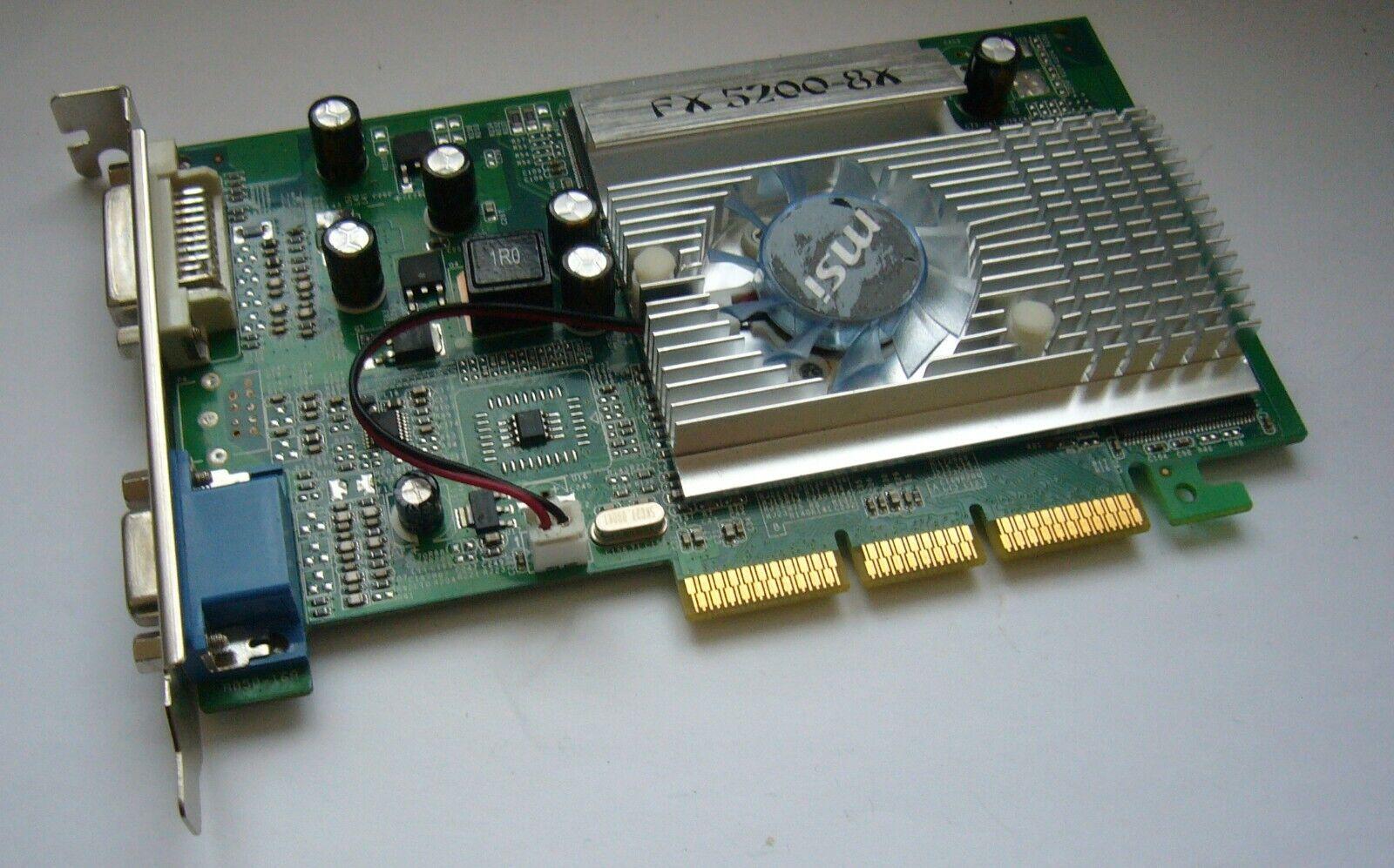 Grafikkarte MSI FX5200  -256 MB-AGP 8x, DVI & D-Sub VGA