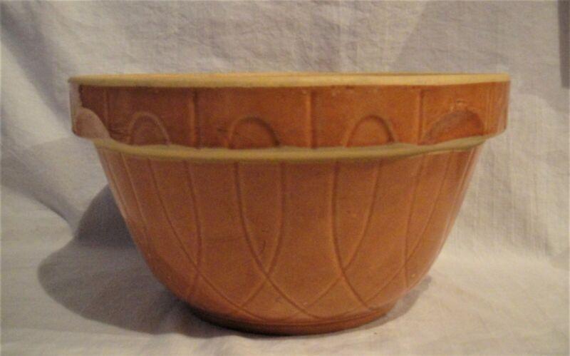Vintage Watt Pottery Ovenware Bowl, Pumpkin Loop Large No 9 Mixing Bowl Made USA