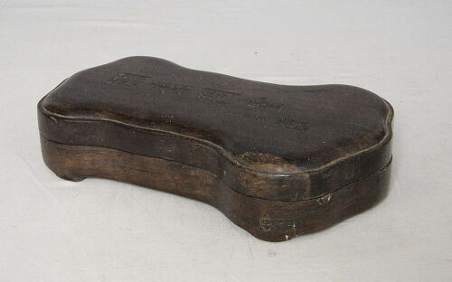 Chinese  Blace  Ink  Stone  With  Wood  Box     M2098