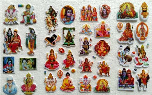 Set of 34 Different Religious Stickers of God Ganesha Shankar Hanuman Lakshmi