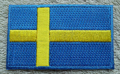 SWEDEN FLAG PATCH Embroidered Badge Iron Sew on 4.5cm x 6cm Sverige Scandinavia
