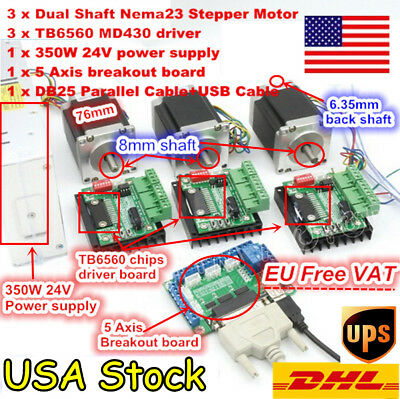 Usa 3 Axis Nema23 Cnc Stepper Motor Dual Shaft 270oz-in 3.0atb6560 Driver Kit