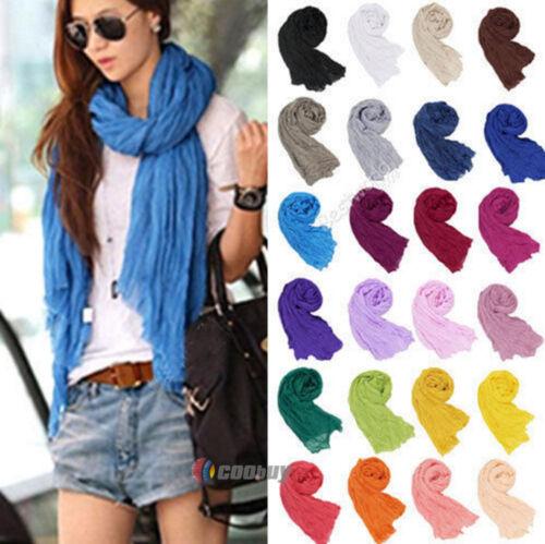 Frauen Damenschal Weicher Schals Baumwolle Licht Falten Stola Halstuch 9 Farben