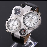 OUlM Mens Style Sport Military Army Multi-Time Leather Quartz Wrist Watch White