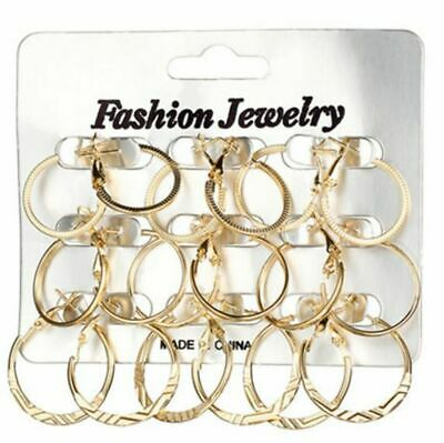 Damen 9pc Reifen Ohrringe Set Gold Mode Kostüm Schmuck Geschenk UK