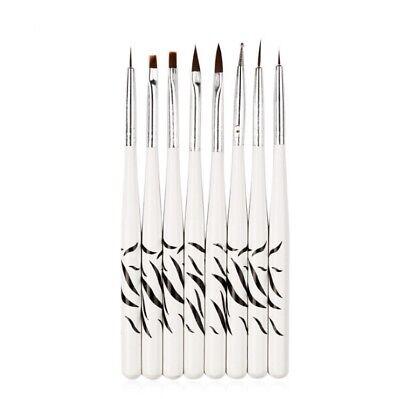 8Pcs/Set UV Gel Nail Art Brush Polish Painting Pen Brush For Manicure DIY Hot US White Plastic Pen