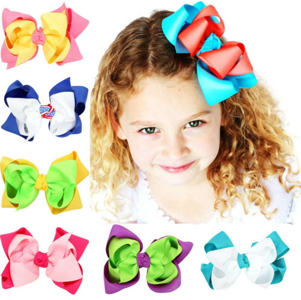 7 Pcs 4.7″ Baby Girls Huge Grosgrain Ribbon Boutique Hair Bows Kids Hair Clip Baby