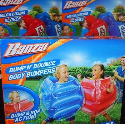 Mega Water Slide - BANZAI BODY BUMPERS MEGA BOXING GLOVES LOT BUMP N BOUNCE INFLATABLE TOYS KIDS