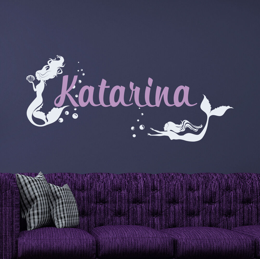 Girl Name Wall Decal Mermaid Vinyl Stickers For Girl Bedroom