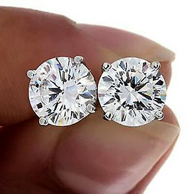 $899.57 - CERTIFIED 1.00ct 1ct ONE CARAT ROUND-CUT F/VS2 DIAMONDS 14K GOLD STUDS EARRINGS