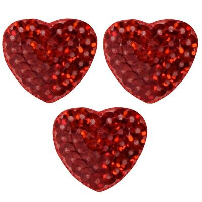 Red Sequin Heart Applique Patch (3-Pack, Small, Iron -