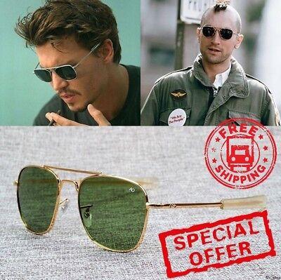 2018 New Fashion Army MILITARY AO Pilot Sunglasses Brand American Optical Glass (Military Sunglasses Brands)