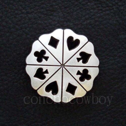 Set of 6 ANTIQUE SILVER POKER CARD SUITS CONCHOS screw back CONCHO