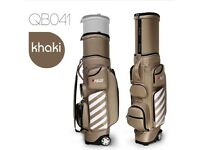Full size golf bag with built in wheels and integrated retractable travel sleeve