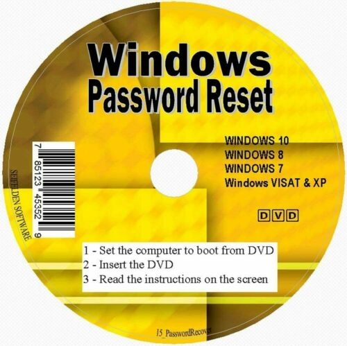 2020 Windows Password Reset Recovery CD Disc for Windows 10, 8, 7, Vista XP