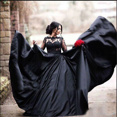 Black Gothic Wedding Dresses Satin Lace Long Sleeve Bridal Ball Gown Custom Made