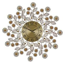 (D) Elegant Round Wall Clock 27 inches with Crystals and White Flowers