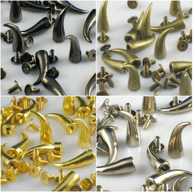 RUBYCA 21mm Cat Claw Spikes Metal Studs Screwback Silver Gold Black Leathercraft