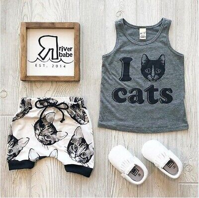 US Newborn Kids Baby Boys Tops Tank shirt Shorts Pants Cat Outfits Set Clothes - Guy Outfits