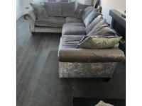 Grey Crushed Velvet Scatter Back L Shape Sofa (NEED QUICK SALE OFFERS WELCOME)