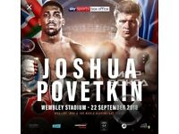 2 Boxing tickets joshua povetkin 22nd september cheap, quick sale
