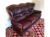 3 seater - 2 seater - 2 single armchairs leather maroon sofa suite with wooden trim