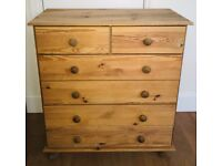 Solid wood pine chest of drawers