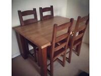 Solid Oak Top Dining Table & 4x Chairs