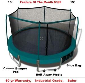 New Trampoline & Safety Enclosure Sale,8,11,12,13,14,(15 & 17) Industrial Grade,10 yr Warranty Shipping Available