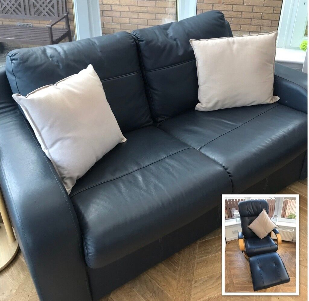 Navy blue leather 2 seater sofa bed/couch and reclining ...
