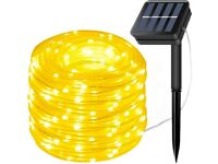 NEW LiyuanQ Solar String Lights Outdoor Rope Light, 300 LED Waterproof Tube Lights (Warm White)