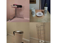 Bathroom Set: Shower Rack; Toothbrush Holder; Soap Holder; Pedal Bin; Toilet Paper Rack