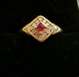 18ct Gold Ruby and 0.25ct Diamond Ring