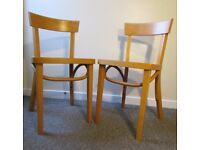 2 wooden IKEA chairs dining , retro style in good condition, sitting room furniture FREE DELIVERY