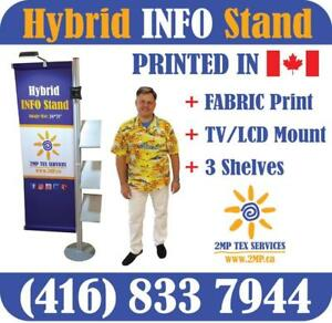 PREMIUM Hybrid INFO Stand Trade Show Display Promo Marketing Booth + Custom FABRIC Dye Sublimation Printed Graphics