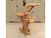 Hand made, unique wooden table or plant stand