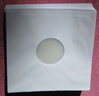"""New   100 WHITE PAPER POLY LINED 12"""" LP RECORD SLEEVES"""