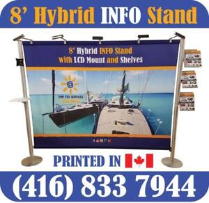 NEW 8ft Hybrid INFO Stand Trade Show Display Premium Back Wall Backdrop + Custom FABRIC Dye Sublimation Printed Graphics