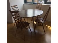 Ercol drop leaf table & 4 Goldsmith chairs - excellent condition, available now (pick up only).