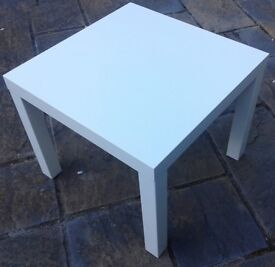 WHITE SIDE TABLE.55cm x 35cm.in top condition.Legs can be removed. £6. 3 colours available