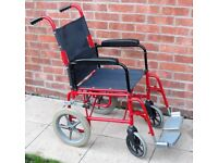 Lomax Heavy-Duty Folding Black / Red Wheelchair With Foot Plates