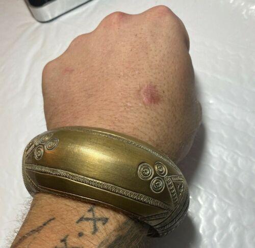 Massive rare brass African manilla slave bracelet currency ornate bronze copper